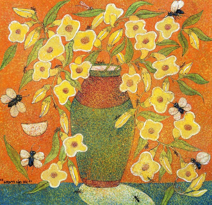 Yellow Flower by Manoj Dutta, Expressionism Painting, Tempera on Board, Copper color