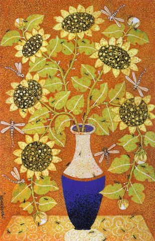 Spring by Manoj Dutta, Expressionism Painting, Tempera on Board, Copper color