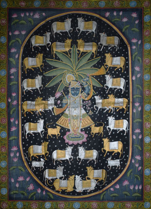 Pichwai Painting by Unknown Artist, Folk Painting, Natural stone colour on cotton, Onyx color