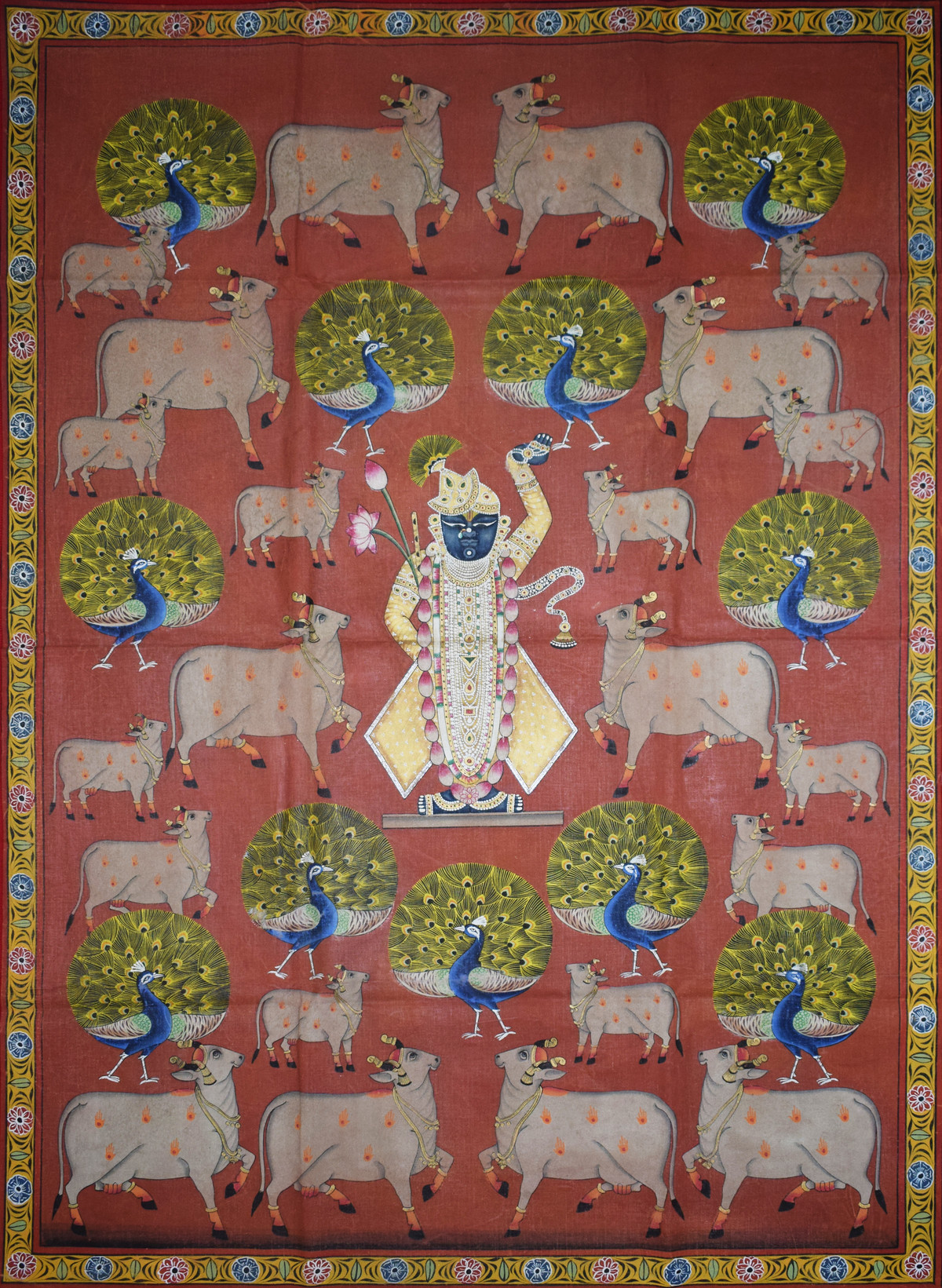 Pichwai Painting by Unknown Artist, Folk Painting, Natural stone colour on cotton,