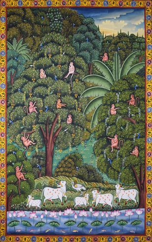 Pichwai Painting by Unknown Artist, Folk Painting, Natural stone colour on cotton, Kelp color