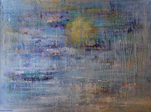 Ocean's Call by Mahesh Sharma, Abstract Painting, Acrylic on Canvas, Pale Sky color