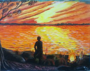 The Eve and The Wait by Venugopal Sunkad, Impressionism Painting, Acrylic on Canvas, Shark color