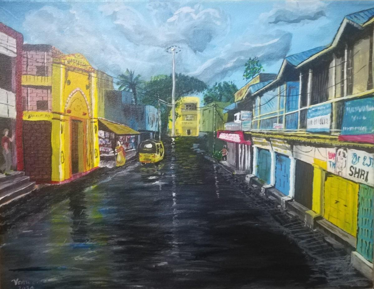 The Street by Venugopal Sunkad, Impressionism Painting, Acrylic on Canvas, Aqua Island color