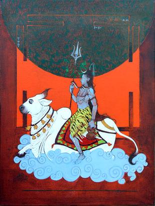nandi by Ramchandra Kharatmal, Expressionism Painting, Acrylic & Graphite on Canvas, Matterhorn color