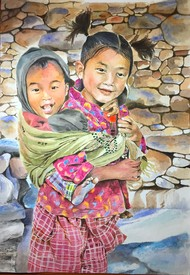 Big Sister by Ria Das, Impressionism Painting, Watercolor on Paper, Sandrift color