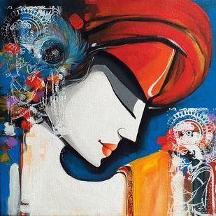 face1 by pradeesh k raman, Decorative Painting, Acrylic on Canvas, Cloud Burst color