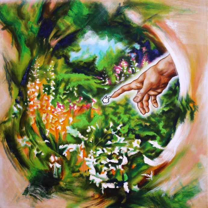 Google God by Alamelu Annhamalai, Conceptual Painting, Acrylic on Canvas, Cameo color