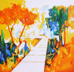 Sky Road by Alamelu Annhamalai, Impressionism Painting, Acrylic on Canvas, William color