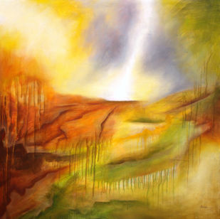 Morning Sun by Alamelu Annhamalai, Abstract Painting, Acrylic on Canvas,