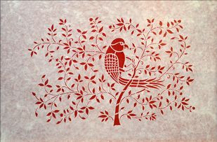 Sanjhi Art by Unknown Artist, Folk Painting, Hand Cut Paper, Soft Amber color