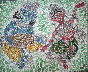 KIRTAN by KAUSIK KARMAKAR, Traditional Painting, Acrylic & Ink on Paper, Mineral Green color