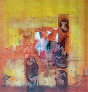 Untitled 1 by Jaiprakash Chouhan, Abstract Painting, Acrylic on Canvas, Muddy Waters color