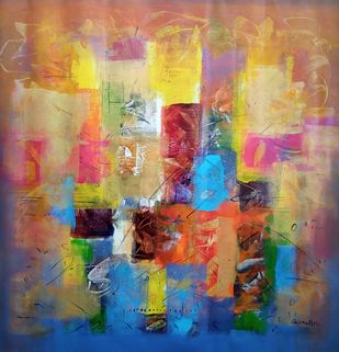 Untitled 2 by Jaiprakash Chouhan, Abstract Painting, Acrylic on Canvas, Muesli color