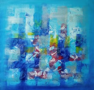 Untitled 3 by Jaiprakash Chouhan, Abstract Painting, Acrylic on Canvas, Boston Blue color