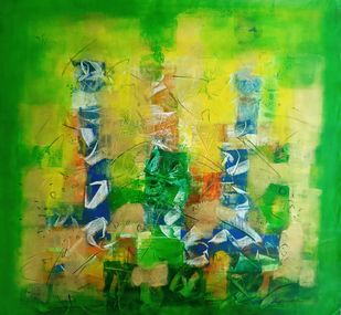 Untitled 4 by Jaiprakash Chouhan, Abstract Painting, Acrylic on Canvas, Sundance color