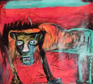 Canine by Gautam Das, Expressionism Painting, Acrylic on Paper, Mahogany color