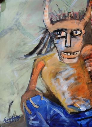 The tribal king by Gautam Das, Expressionism Painting, Acrylic on Paper, Napa color
