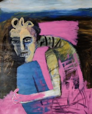 The Man and the Pink by Gautam Das, Expressionism Painting, Acrylic on Paper, Thunder color