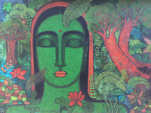 Peace of Nature III by Mamata Shingade, Expressionism Painting, Acrylic on Canvas, Viridian Green color