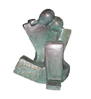 Moment by Sheela Chamariya, Art Deco Sculpture   3D, Bronze, Woodsmoke color