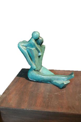 Unconditional Love by Sheela Chamariya, Art Deco Sculpture   3D, Bronze, Woodsmoke color