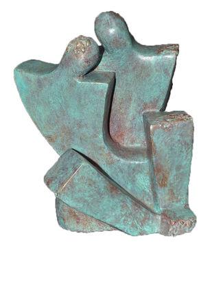 Moment by Sheela Chamariya, Art Deco Sculpture   3D, Bronze, Dune color