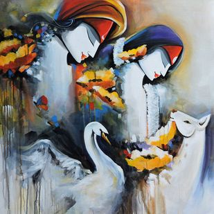 love by pradeesh k raman, Traditional Painting, Acrylic on Canvas, Charade color