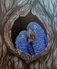 Solace by Sreya Gupta, Pop Art Painting, Acrylic on Wood, Tundora color