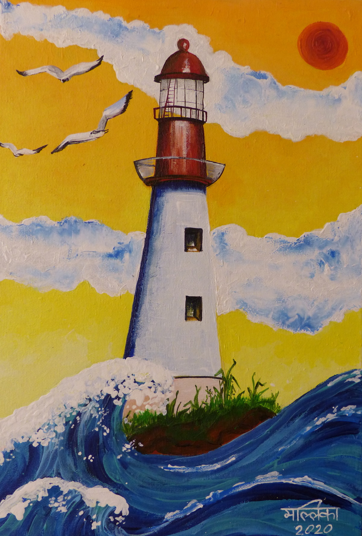 The Lighthouse Digital Print by Mallika Seth,Expressionism