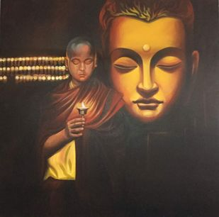 Hope of light by Mk goyal, Realism Painting, Acrylic on Canvas, Taupe color