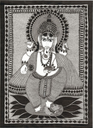 Siddhidhata - I by Unknown Artist, Folk Painting, Acrylic & Ink on Paper, Dune color