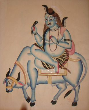 Untitled by KALAM PATUA, Folk Painting, Watercolor on Paper, Sandrift color