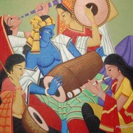 Untitled by Somnath Benerjee, Expressionism Painting, Acrylic on Canvas, Sandal color