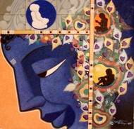 Untitled by Somnath Benerjee, Expressionism Painting, Acrylic on Canvas, Harvest Gold color