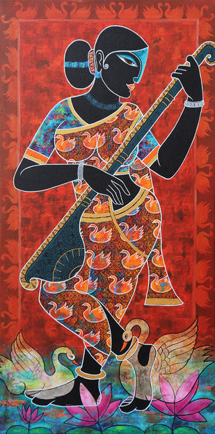 Saraswati by Pratiksha Bothe, Decorative Painting, Acrylic on Canvas, Pickled Bluewood color