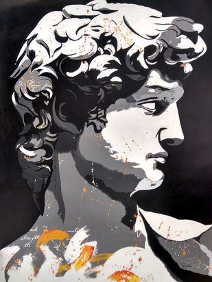 Michelangelo's David by Sangeeta Jaiswal, Illustration Painting, Acrylic on Canvas, Pearl Bush color