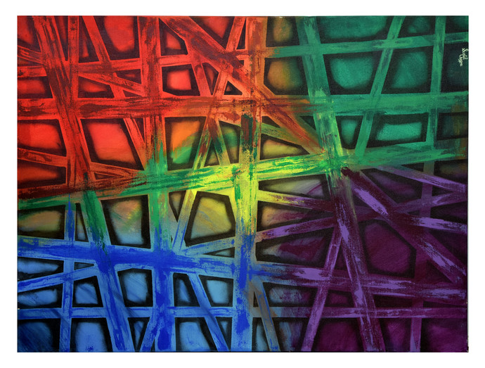 The PATH by Sunil Chopra , Geometrical Painting, Acrylic on Canvas,
