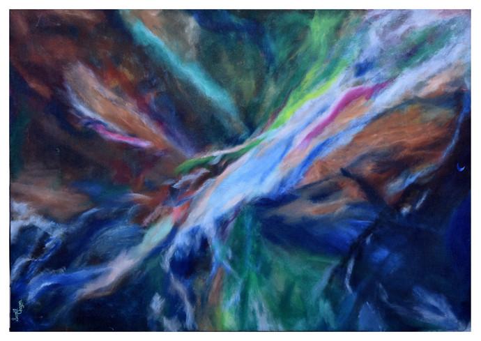 Shiva trance by Sunil Chopra , Abstract Painting, Acrylic on Canvas,