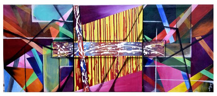 The Dripping Geometry by Sunil Chopra , Geometrical Painting, Acrylic on Canvas,