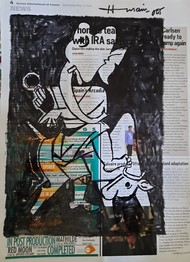 Ganesh by M F Husain, Illustration Drawing, Pen & Ink on Paper, Silver color
