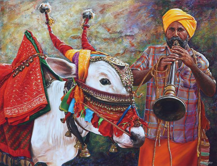 Basava by Muralidhar Suvarna, Photorealism, Realism Painting, Canvas on Board,