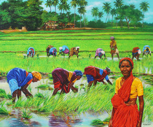 Paddy Cultivation by Muralidhar Suvarna, Photorealism Painting, Acrylic on Board,