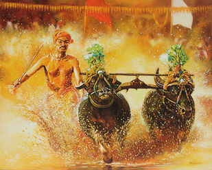 Kambla by Muralidhar Suvarna, Photorealism Painting, Acrylic on Canvas,