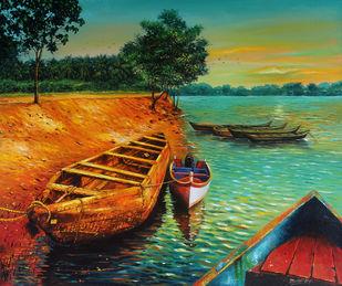 Phalguni River by Muralidhar Suvarna, Expressionism Painting, Acrylic on Canvas,