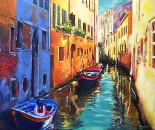 Venice Reflection by Muralidhar Suvarna, Impressionism Painting, Acrylic on Canvas,