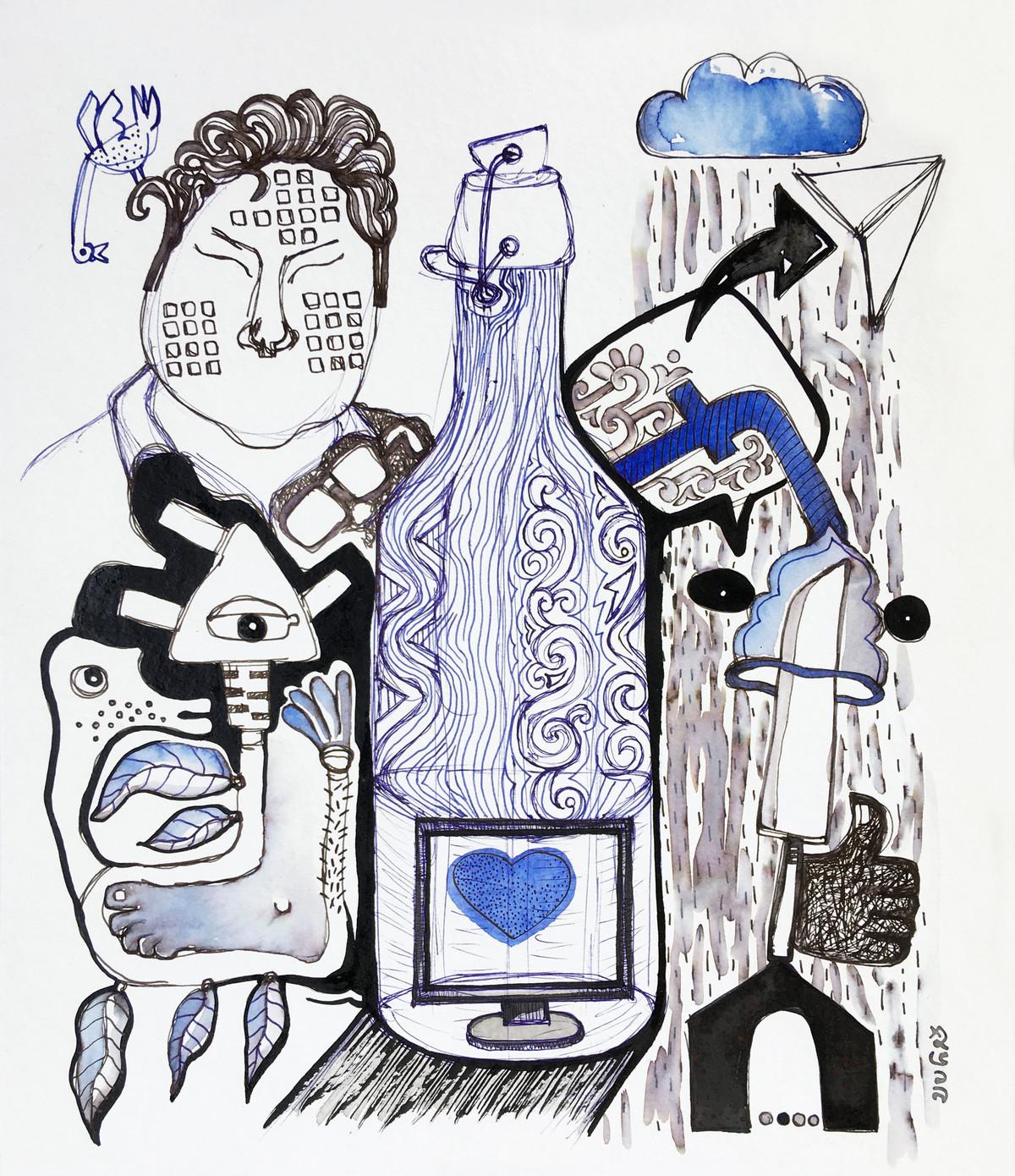The Struggling Elite by Shubharanjan Paul, Illustration Drawing, Pen & Ink on Paper, Tuna color