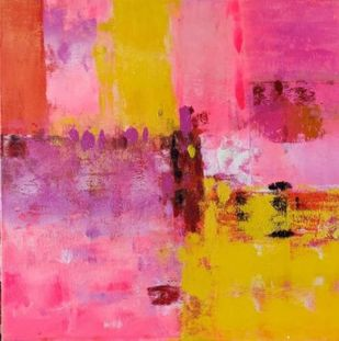 pink by Gita Hudson, Abstract Painting, Acrylic on Canvas, Deep Blush color