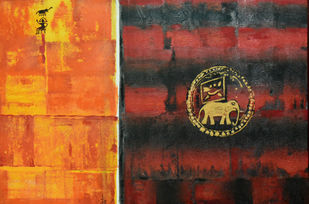 Tipu's coin by Gita Hudson, Abstract Painting, Oil on Canvas, Beaver color