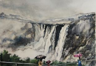 Jog in the monsoon by Lasya Upadhyaya, Impressionism Painting, Watercolor on Paper, Cloudy color